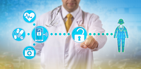 Unrecognizable male physician is accessing electronic medical records of a female patient via secure wireless network. Health IT concept for data accessibility, mobility and virtualization security.
