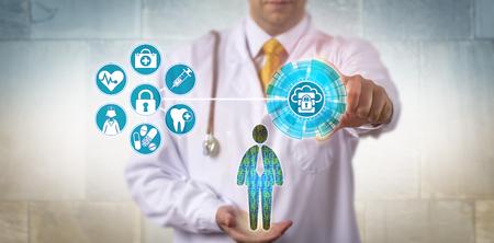 男性患者の電子健康記録へのアクセスを確保する医学の認識できない医師。仮想化セキュリティ、医療情報交換、データアクセスのためのヘルスケアとITの概念。 写真素材 - 91874534