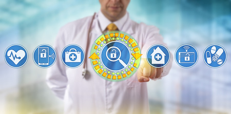 Unrecognizable doctor activating health care data search on virtual dashboard. Healthcare IT concept for mobile data access and sharing, virtualization security and electronic medical reporting.