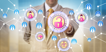 Unrecognizable enterprise security manager identifying a cyber threat in a otherwise secure network. Information technology concept for white collar crime, cybercrime and interception of information.