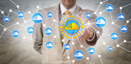 Unrecognizable male enterprise IT client utilizing cloud container infrastructure. Computer software and information technology concept for application container technology and containerization. Stockfoto