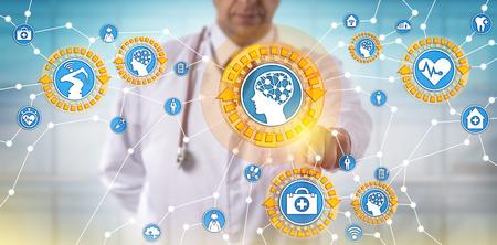 Un docteur en médecine méconnaissable active des choses médicales via Internet. Concept informatique des soins de santé pour l'intelligence artificielle, l'internet des objets, l'apprentissage automatique et le robot autonome. Banque d'images