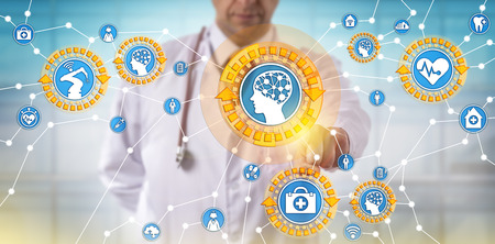 Unrecognizable male doctor of medicine is activating medical things via the internet. Health care IT concept for artificial intelligence, internet of things, machine learning and autonomous robot. Stock Photo