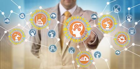 機械学習、人工知能、ニューラルネットワーク、AI、モノのインターネット、IoT、スマートファクトリー、コンピュータ支援やサイバー製造、サイバ 写真素材