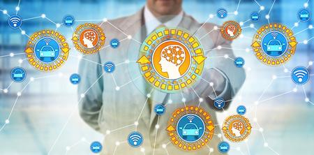 Unrecognizable automotive industry manager activating communication between artificial intelligence and autonomous automobile. Concept for AI, MI, driver-less vehicle, robotic car, machine learning.