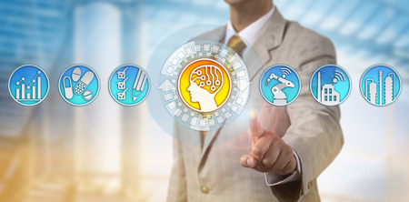 Unrecognizable corporate executive is adding an artificial intelligence unit to a pharmaceutical manufacturing operation line. Industrial concept for computer-aided manufacturing, industry 4.0.