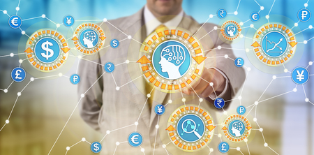 Unrecognizable trader monitoring transactions with assistance of artificial intelligence. Concept for fraud prevention in financial services, trading assisted by artificial neural network systems. Stockfoto