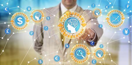 Trader non reconnu surveillant les transactions avec l'aide de l'intelligence artificielle. Concept de prévention de la fraude dans les services financiers, négociation assistée par des systèmes de réseaux de neurones artificiels. Banque d'images - 94291736