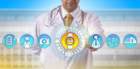 Unrecognizable physician accessing email update via smart watch on the move. Healthcare technology concept for wearable tech devices, improved work efficiency, last mile connectivity, smartwatch.