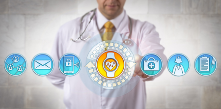 Unrecognizable male clinician adding a smart wristwatch with an ECG app to his communications tools. Health care technology and connectivity concept for wearable tech devices and electrocardiography. Banque d'images