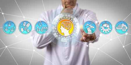 Pensive unrecognizable male doctor of science initiating AI in drug manufacturing app. Concept for industrial internet of things, IIoT, AI-oriented implementations, smart pharmaceutical production.