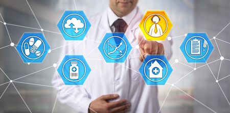 Unrecognizable male biomedical engineer using web-based interactive response technology to improve the efficiency of clinical trials. Pharmaceutical industry concept for clinical supply management.