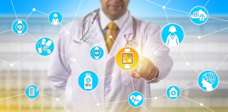 Unrecognizable clinician tracking the pulse trace of a female participant in a clinical trial via a wearable smart watch. Pharmaceutical and medical technology concept for tech togs, IoT and IoMT.