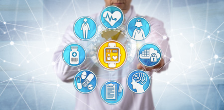 Unrecognizable pharmaceutical researcher is monitoring a female participant in a clinical trial via a wearable smart watch. Medical technology and internet concept for tech togs, IoT and IoMT.