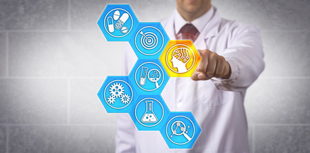 Unrecognizable pharmaceutical scientist activating AI-driven application to speed up the drug discovery process. Pharma industry concept for lead compound identification via artificial intelligence.
