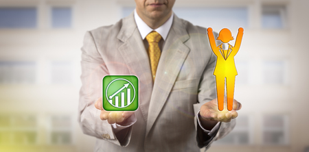 Unrecognizable HR manager is equating a cheering female worker with a potential growth icon. Business concept for performance management, career development, success, empowerment, moving upward.