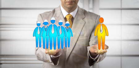 Unrecognizable mediator balancing blue collar workers and one white collar. Concept for human resources management, workplace mediation, contractual dispute resolution, worker compensation claim. Stock Photo