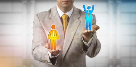 Unrecognizable recruitment manager raising a male cheering blue collar worker above a white collar employee. Concept for mediation, wage gap, career success, skilled manual labor, dispute, outcome.