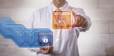 Unrecognizable male pharmaceutical research scientist accessing the most recent entry block in a blockchain. Pharma IT management concept for distributed ledger technology, DLT and cryptography. Stock Photo