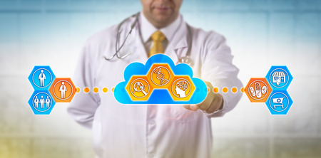 Unrecognizable doctor using cloud based software for faster analysis of genomic information to decide on drug treatment for a male patient. Concept for pharmacogenomics, pharmacogenetics, AI, health. Stock Photo