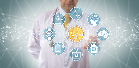 Unrecognizable clinician accessing a medical diagnostics app connected to a seamless data transfer. Healthcare concept for connectivity, clinically centered decision support system, networking.