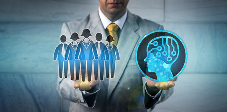 Unrecognizable HR manager is keeping a white collar worker team in balance with an AI app. Concept for artificial intelligence, machine and deep learning, programming, talent management, automation.