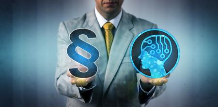 Ein nicht erkennbarer Unternehmensmediator konfrontiert ein System der künstlichen Intelligenz mit den Gesetzen und Vorschriften. Geschäftstechnologiekonzept für den rechtlichen Rahmen der Datenerfassung durch maschinelles Lernen.