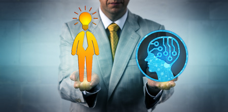 Unrecognizable business manager balancing out artificial intelligence and a bright human employee. Business concept for machine learning, initiative, entrepreneurship, robolution, deep learning.