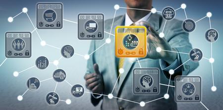 Responsabile aziendale irriconoscibile che protegge l'integrità dei dati della catena di approvvigionamento tramite la soluzione Internet of Things basata sulla tecnologia blockchain. Concetto di tecnologia dell'informazione per IoT e libro mastro distribuito.