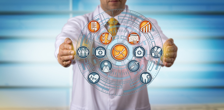 Unrecognizable doctor of medicine projecting improved profits and efficiency from value-based care. Healthcare concept for improved medical cost curve, health insurance planning, transition to value.