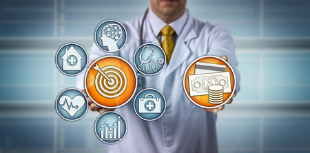 Unrecognizable diagnostician presenting a value-based health care model. Medical and healthcare concept for finding and improving hospital care quality, reimbursement, private health insurance.