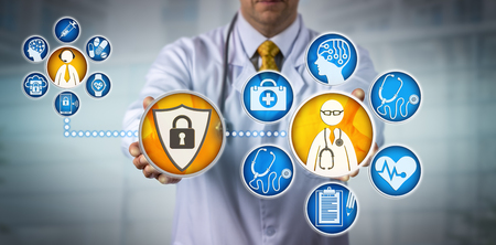 Unrecognizable cardiologist is providing telemedicine services to a remote male patient via a secure network. Healthcare technology concept for health data security, confidentiality and encryption.
