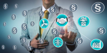 Utility manager closing energy storage agreement for wind power generation in face of a host of laws, rules and regulations. Industry concept for renewable ESS deal, energy policy, grid resilience.