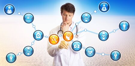 Young doctor using AI to analyze valuable data about individual patients collected via wearables and personal devices. Health care and technology concept for artificial intelligence and telemedicine.
