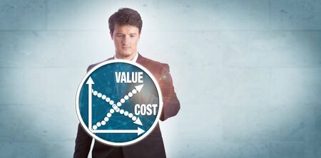 Young businessman touching chart icon depicting growth of value versus reduction of cost. Technology and business concept for cost effectiveness analysis, efficiency, productivity, pricing strategy. Stock fotó