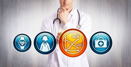Young physician analyzing reduction of cost versus rise of value of telemedicine. Healthcare and technology concept for saving money, increasing ROI, on-call hours, billable time, cost-effectiveness. Imagens