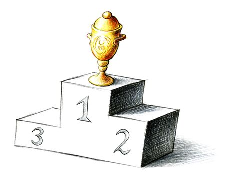 Freehand pencil drawing of golden prize cup taking the first position on a winners' podium. Concept sketch for trophy, winning, championship, success, winner's cup, victory podium, winners' rostrum.