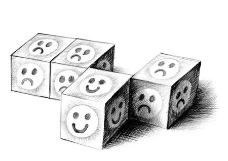 Freehand shaded pencil drawing of cast dice with smiley faces. One die with happy smiling face is getting out of line, leaving behind cubes with unhappy smileys. Visual pun for breaking ranks. Stock fotó