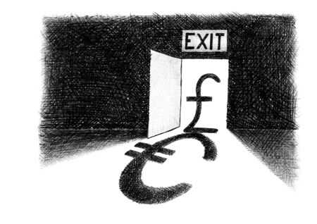 Freehand pencil drawing of British pound sterling sign standing on the threshold of an exit door casting a euro symbol shadow. Artistic metaphor for Brexit, withdrawal from EU, economic dependence.