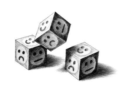 Freehand pencil drawing of three dice being thrown. Two landed with smiley face up, while third one still in air. Artistic metaphor for luck, taking chance, risk, betting, gambling, playing. Cut out. Фото со стока - 129800081