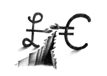 Hand drawn pencil sketch of Euro symbol and British pound sterling sign reaching out for a handshake across a deep chasm. Artistic metaphor for Brexit dispute, disagreement, negotiation, forex.