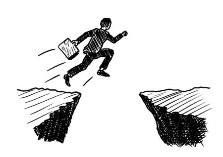 Hand drawn pen sketch of a businessman with portfolio in hand jumping across an abyss formed by rock. Business metaphor for taking risk, courage, seizing opportunity, giant leap forward, chance.
