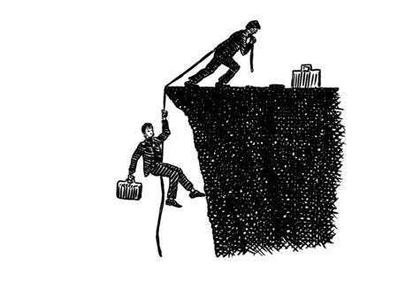 Hand drawn pen sketch of business leader atop a cliff pulling up a work colleague with a rope. Artistic concept for leadership, teamwork, achievement, difficulty, reaching goal, effort, assistance.
