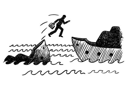 Hand drawn felt tip pen of a businessman jumping off a sinking ship. Concept for bankruptcy, cowardice, disaster, escape, business instinct, panic, rescue, corporate survival, difficulty, adversity. Imagens