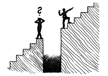 Hand drawn line art sketch of manager showing a puzzled colleague the way to the top. Business metaphor for encouragement, leadership, obstacle, path to goal, challenge, growth, conquering adversity. Stockfoto