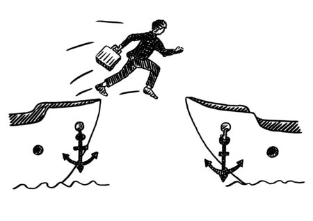 Hand drawn felt tip pen sketch of businessman jumping ship with portfolio in hand. Business concept for abandoning task, resigning, quitting job, joining rival, working for the competition, leaving. Imagens