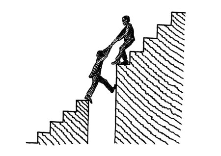 Hand drawn line art sketch of one business man pulling another man across a gap in a stairway on their way up. Metaphor for helping hand, teamwork, leadership, career development, cooperation.