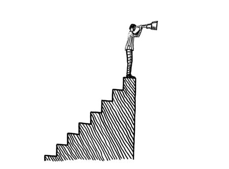 Freehand pen drawing of a business man standing on top of a flight of steps and looking through a spyglass. Metaphor for aspiration, vision, foresight, the way forward, opportunity, research, goal.