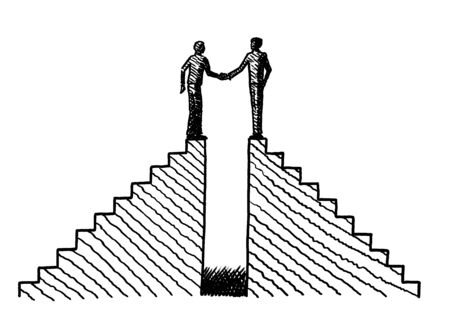 Hand drawn line art sketch of two men atop two staircases shaking hands. Business concept for merger, partnership, cooperation, deal, agreement, companionship, co-partner, leadership, achievement.