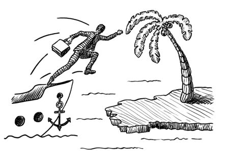 Freehand pen drawing of a business man jumping off a ship to reach an island with palm tree. Metaphor for leadership, entrepreneurship, aspiration, discovery, career move, achievement, enterprise.